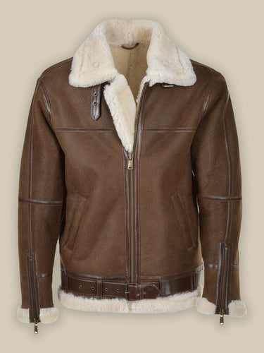 MEN UMBER BROWN SHEARLING LEATHER JACKET