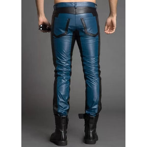 Men Fashion Contrast Color Genuine Black and Blue Leather Pants - Wiseleather
