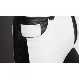 Men Fashion Contrast Color Genuine Black and White Leather Pants - Wiseleather