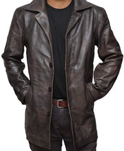 Distressed Brown Mens Leather Coat