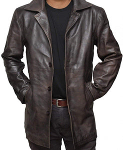 Distressed Brown Mens Leather Coat - Wiseleather