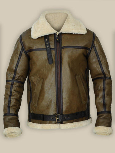 ARMY GREENISH BROWN SHEARLING LEATHER JACKET