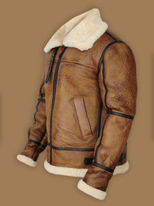 MEN BROWN B3 BOMBER SHEARLING JACKET - Wiseleather