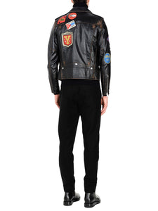 Men Biker Logo Leather Jacket
