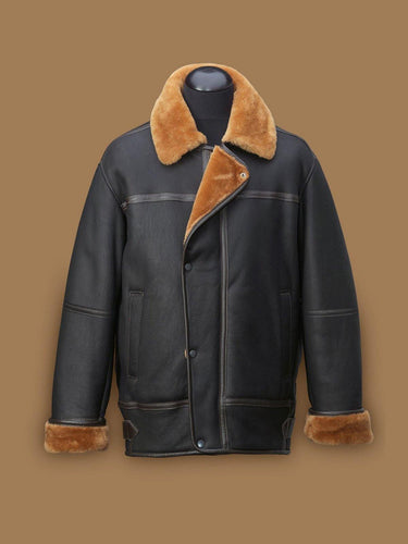 MEN BLACK AVIATION SHEARLING JACKET