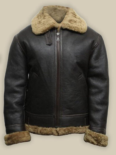 MEN BLACK B3 BOMBER SHEARLING LEATHER JACKET
