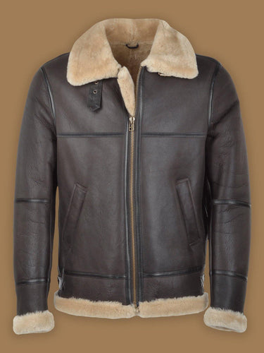 MEN DARK BROWN RAF SHEARLING JACKET