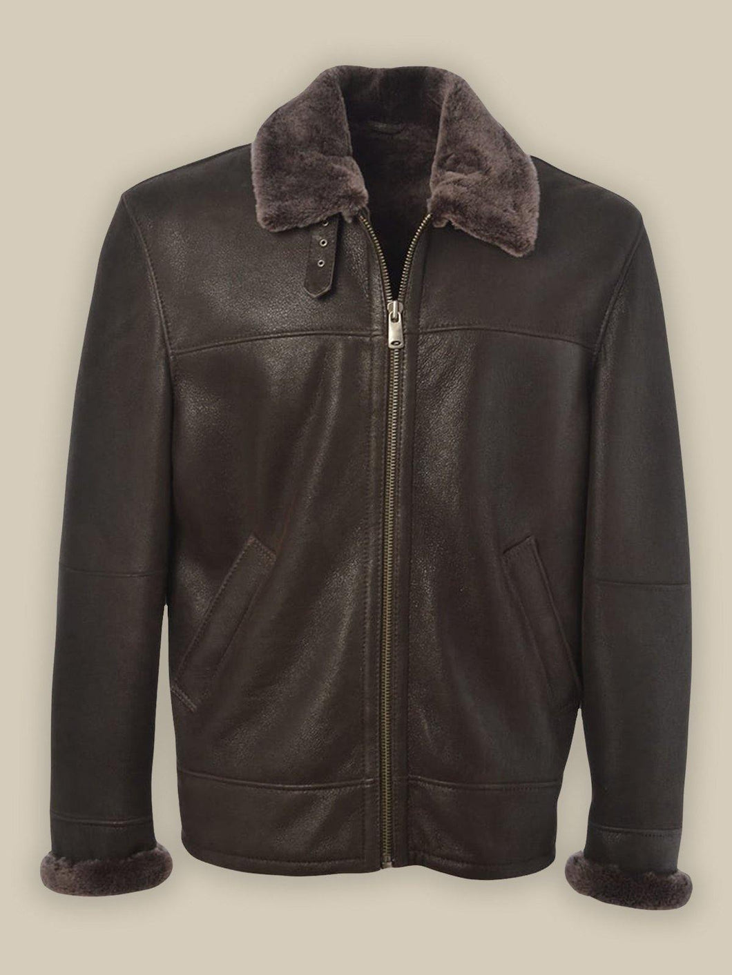 MEN BLACK SHEARLING LEATHER JACKET