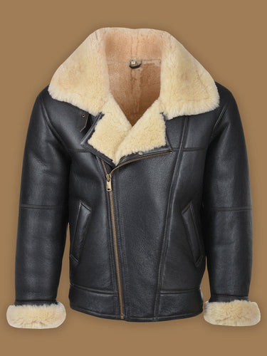 MEN BLACK B3 SHEARLING LEATHER JACKET