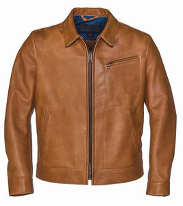 Men Light Brown Leather Jacket - Wiseleather