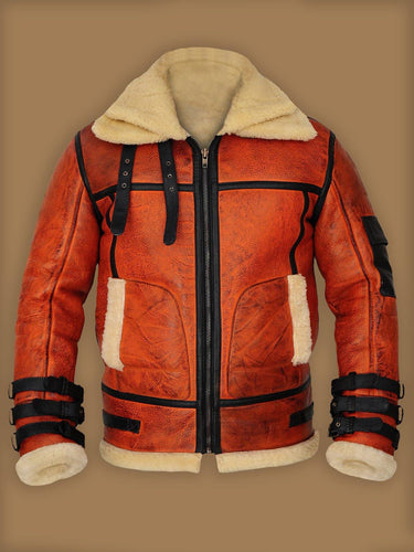 MEN DISTRESSED BROWN SHEARLING JACKET