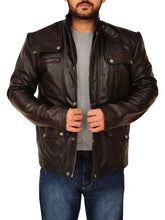 Mens Classic Dark Brown Leather Jacket