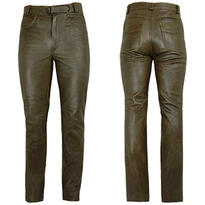 Men's Elite 2 Antique Brown Leather Jeans - Wiseleather