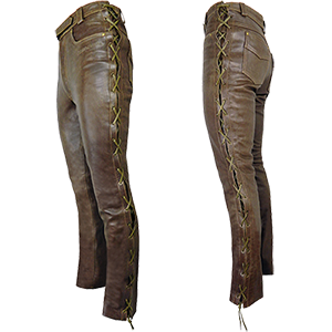 Men's Elite Tie Side Leather Jeans