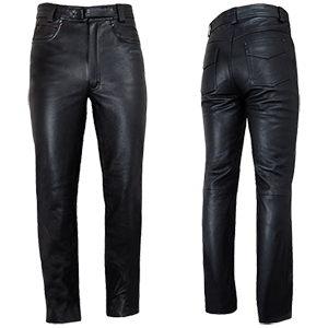Mens Elite 2 Plain Classic Leather Trousers - Wiseleather