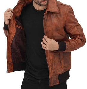 Tan Bomber Distressed Leather Jacket - Wiseleather