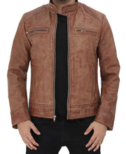 Cafe Racer Distressed Leather Jacket