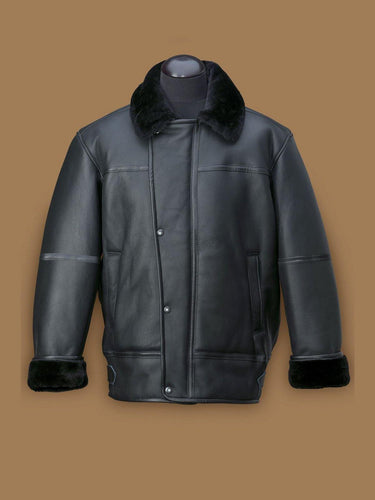 MEN BLACK AIRCRAFT SHEARLING JACKET