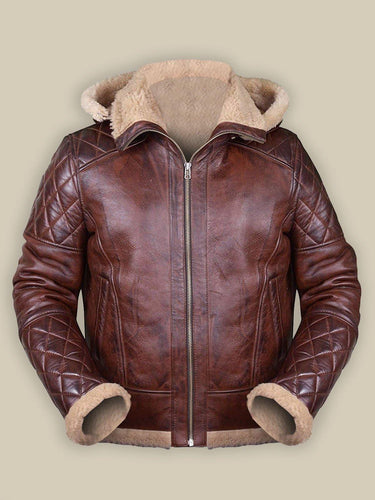 MEN BROWN SHEARLING JACKET WITH HOODIE