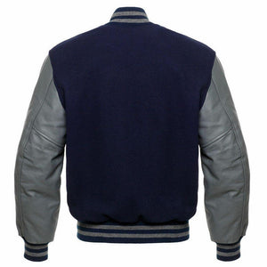 NAVY BLUE VARSITY JACKET - Wiseleather