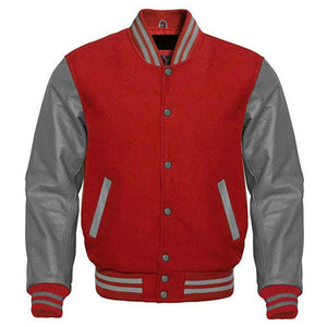 RED VARSITY JACKET MEN - Wiseleather