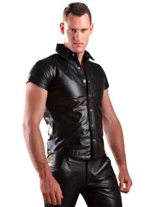 Leather Short Sleeve Shirt - Wiseleather