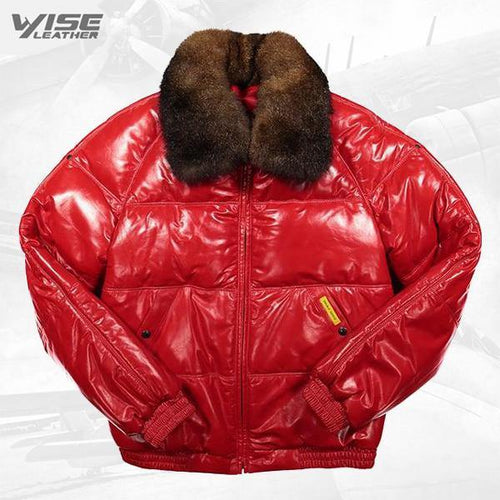 Straight Bomber Leather Jacket Red