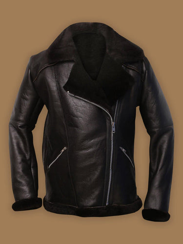 MEN DARK BROWN SHEARLING AVIATOR JACKET