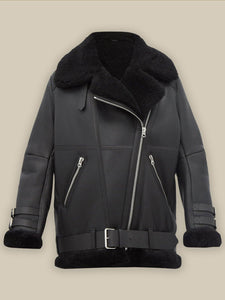 WOMEN PITCH BLACK B3 SHEARLING JACKET - Wiseleather
