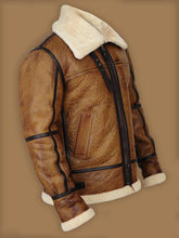 MEN BROWN B3 BOMBER SHEARLING JACKET