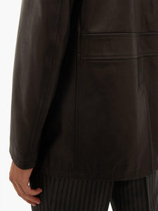 Men Brown Long Leather Jacket - Wiseleather