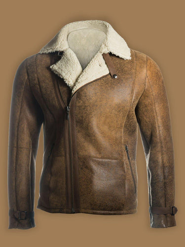 MEN BROWN DISTRESSED SHEARLING JACKET