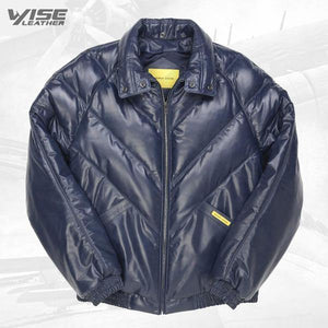 V-Bomber Leather Jacket Navy - Wiseleather