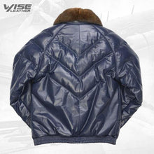 V-Bomber Leather Jacket Navy