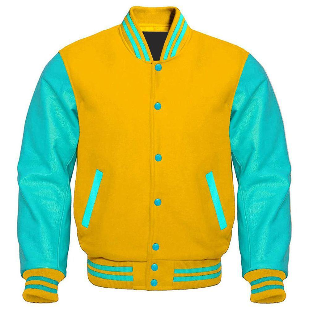 YELLOW AND TIFFANY BLUE VARSITY JACKET