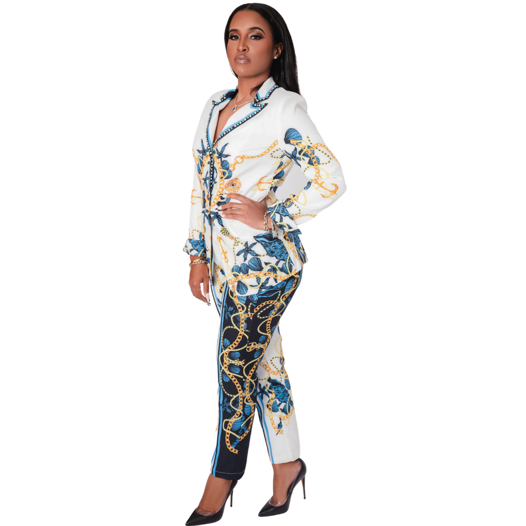 Queen of the Realm Chain Print Blazer Suit