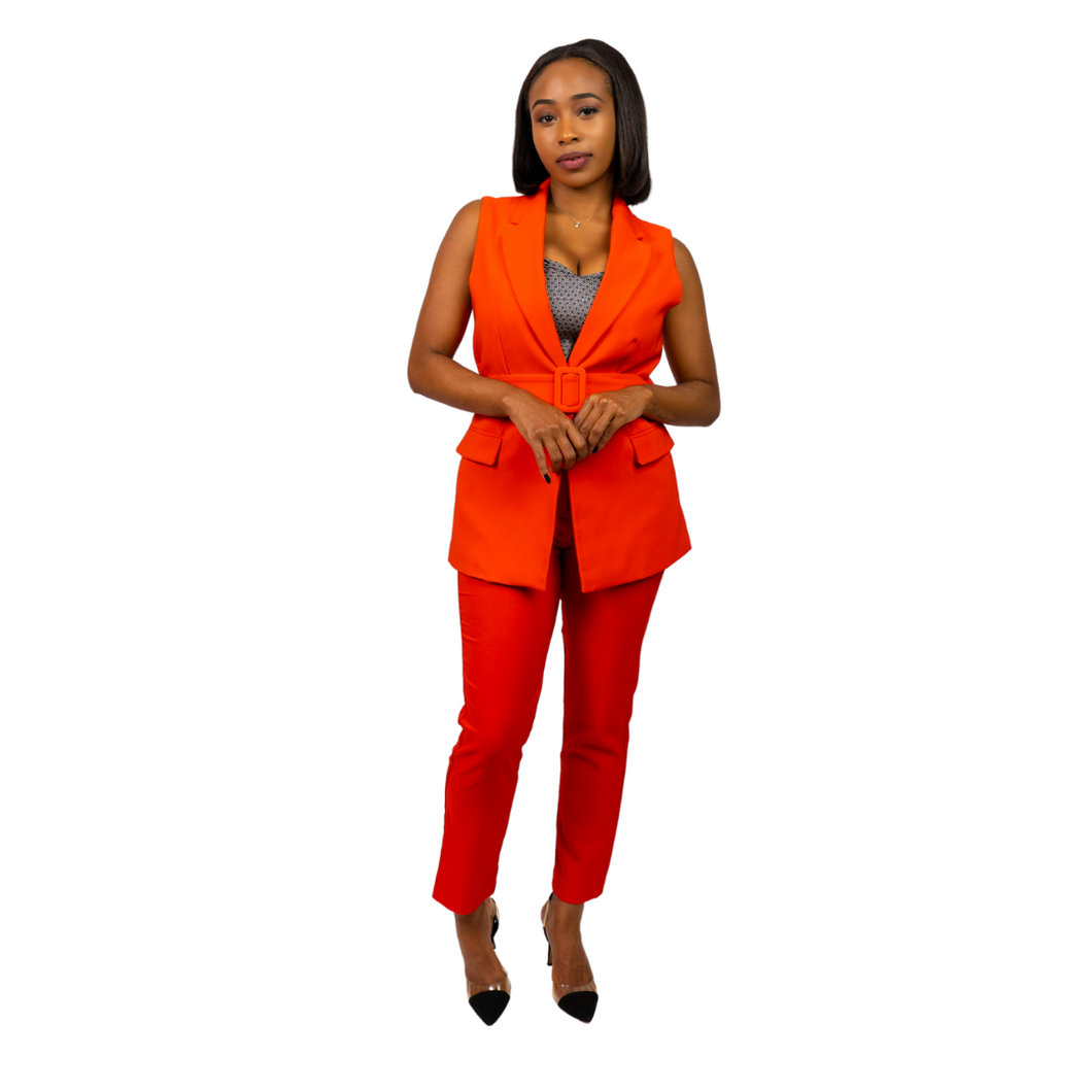 Red Creased Up Belted Vest Suit