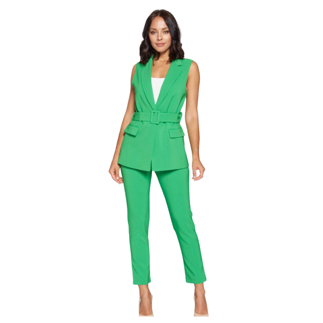 Green Creased Up Belted Vest Suit