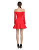 Boat Neck Flounce Dress - Red