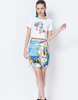 Abstract Face Print Cropped T-Shirt