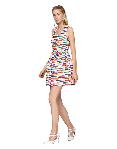 Rainbow Striped Fit-and-Flare Dress
