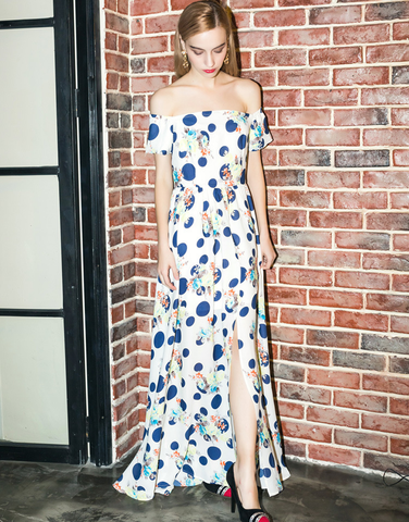 Blue Dot Special Off the Shoulder Maxi Dress