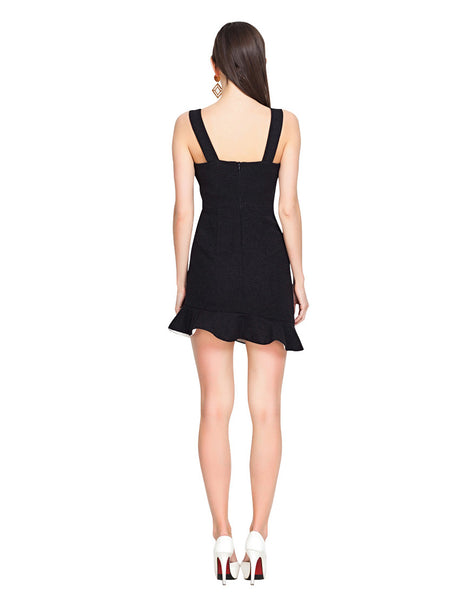 Black Flounced Harness Dress