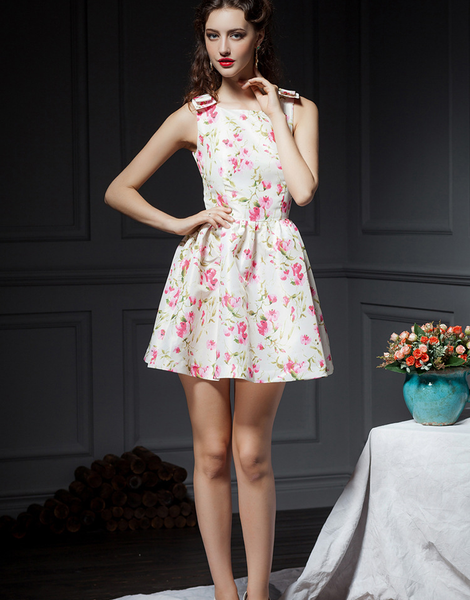 Sleeveless Floral Country Dress