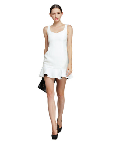 Sleeveless Flounce Dress - White