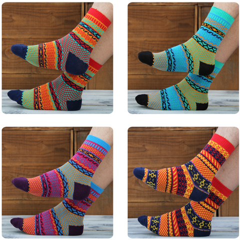 Unisex Ethnic Style Combed Cotton Socks – Multi Coloured
