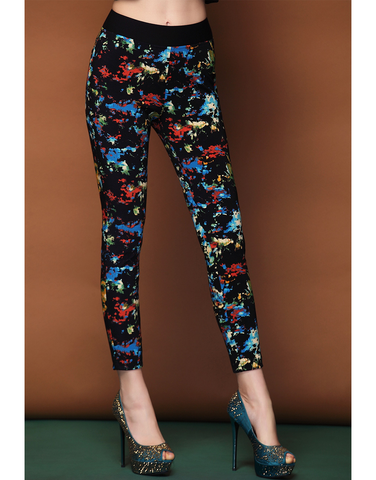 Abstract Printing Stretch Pant - Blue & Red