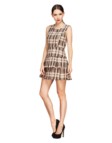 Sleeveless Check Print Tiered Dress