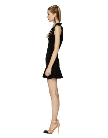 Black Neck Tie Flounce Dress