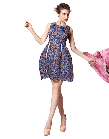 Floral Print High-Waist Volume Dress